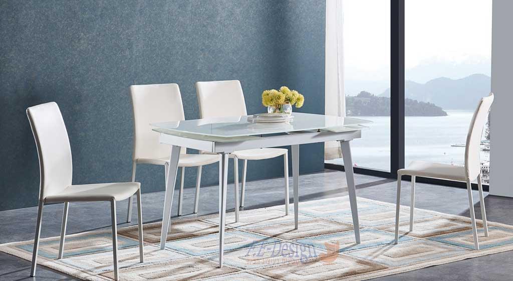 שולחן אוכל זכוכית נפתח דגם רותם מבית F.E-DESIGN